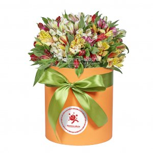Box with Alstroemerias